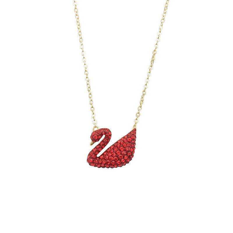 ☸ღระดับสูงสุดกำนัลราคาพิเศษ Swarovski Swarovski คลาสสิกสีแดงหงส์หญิงสร้อยคอขนาดใหญ่สีแดงจี้5465400