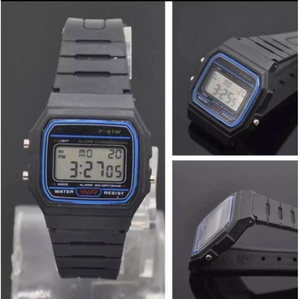 ℡✥Casio นาฬิกาข้อมือผู้ชาย สายสแตนเลส รุ่น A158WA-1DF - สีเงิน