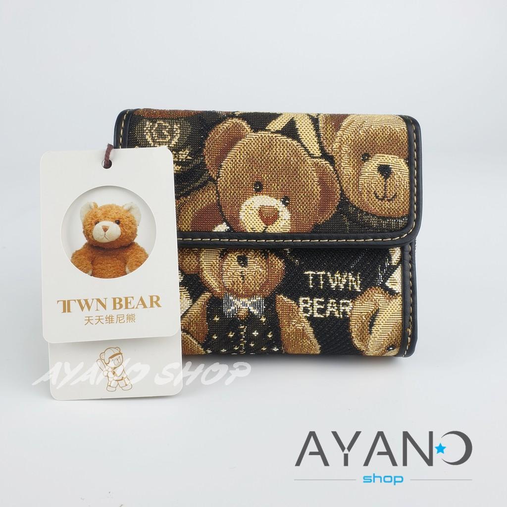 กระเป๋าสตางค์ใบสั้นรุ่นพับ David Duke(TTWN BEAR) สีดำหมีแน่น