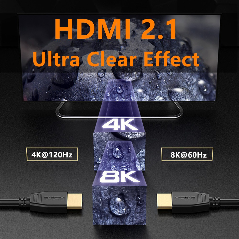 8K HDMI Cable 2 1 Version 120Hz 48Gbps Male To Male HDMI Adapter Cable For  HDR Projector TV Computer Connector Cord 1 8m