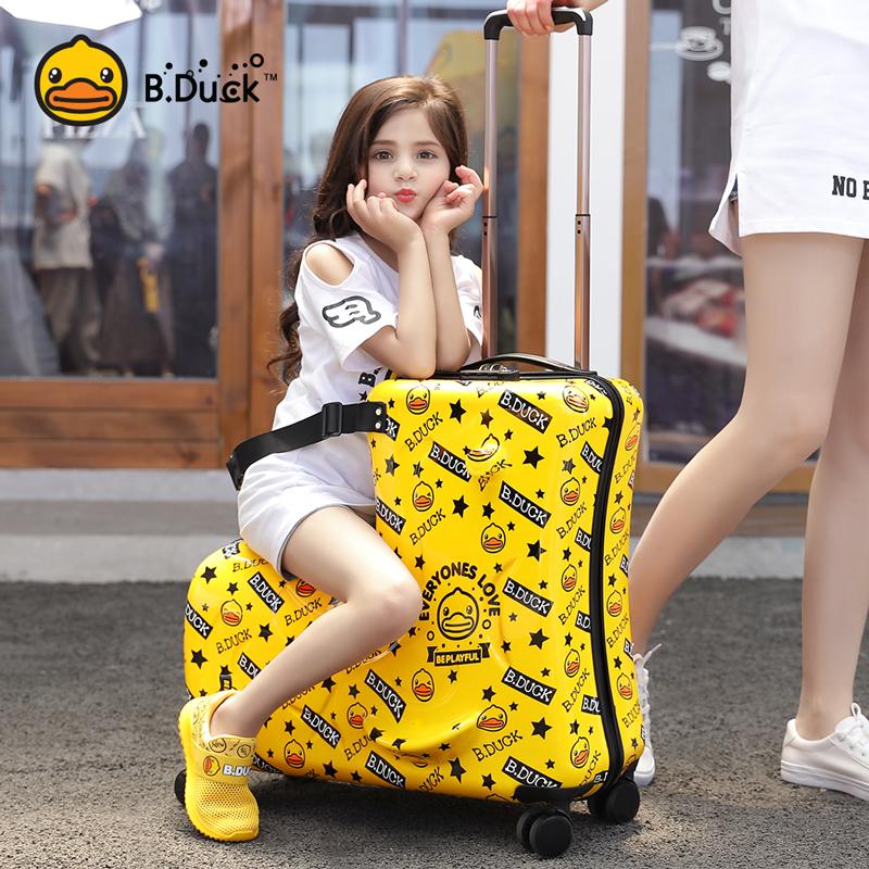 ❄☂ กระเป๋าเดินทางล้อลากใบเล็ก กระเป๋าเดินทางล้อลากกรณีรถเข็นB.Duckเป็ดสีเหลืองขนาดเล็กกระเป๋าเด็กสามารถนั่งสามารถนั่งรถเ