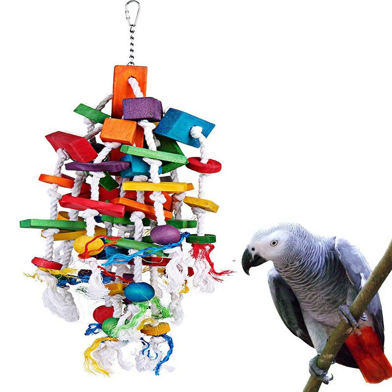 Bird Chewing Toy Large Medium Parrot Cage Bite Toys for African Grey Macaw