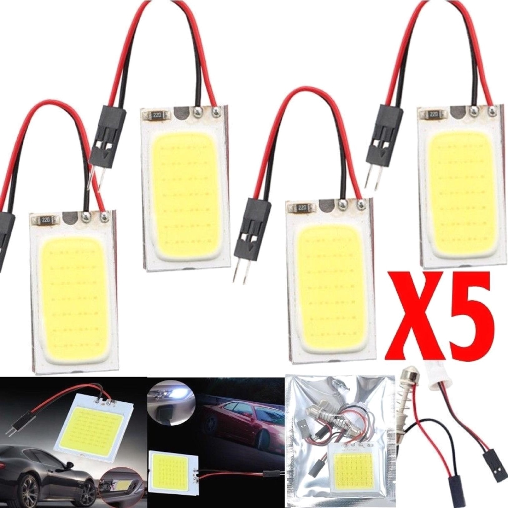 แผงหลอดไฟ 48 smd cob led t 10 4 w 12 v สีขาว 5 ชิ้นสําหรับรถยนต์