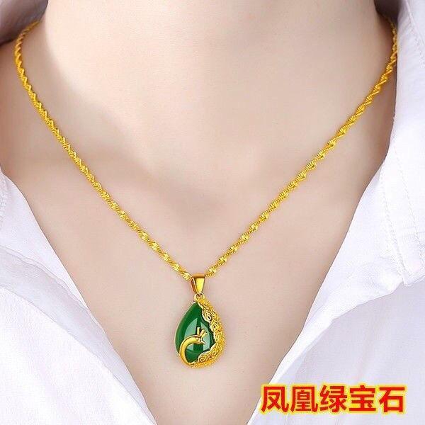 ราคาพิเศษ♈❐☒[กระบะใหญ่] สร้อยคอผู้หญิงทองคำแท้ ทองคำขาว ห้าเม็ดนำโชค ลูกปัดโอน จี้ของขวัญสำหรับคุณแม่
