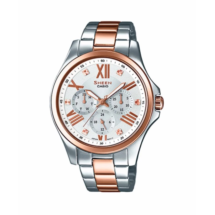 Casio Sheen Chronograph นาฬิกาข้อมือผู้หญิง สายสแตนเลส รุ่น SHE-3806SPG-7A