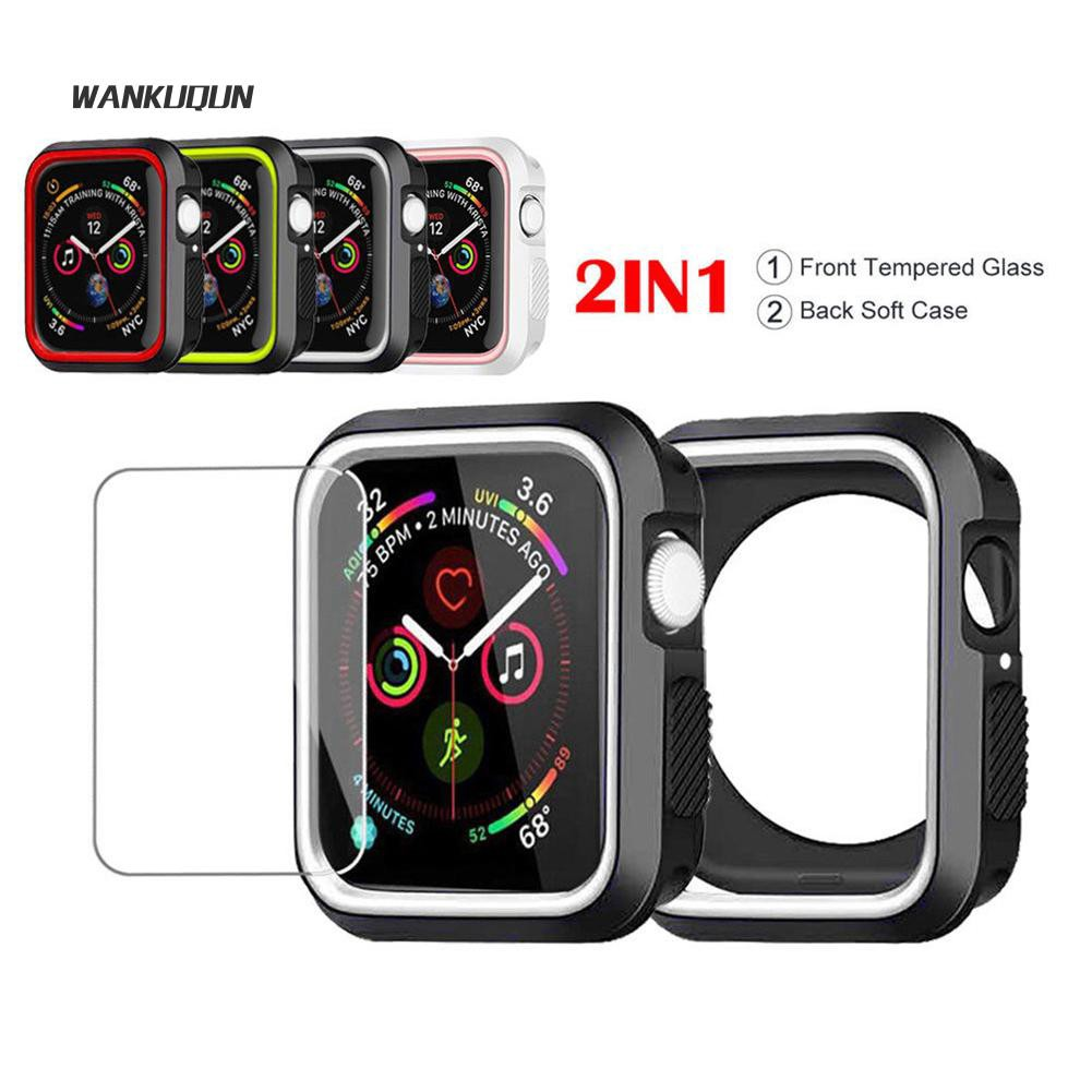 √Wn 40/44mm Tempered Glass Screen Protector+Silicone Case for Apple Watch Serie4