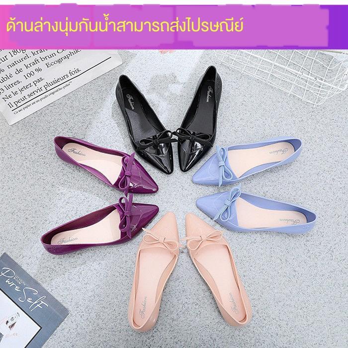 พร้อมที่จะส่ง รองเท้าคัชชูหัวแหลมเปิดส้น รองเท้าผู้หญิงแฟชั่น รองเท้าส้นแบน รองเท้าทํางานที่สบายแบน
