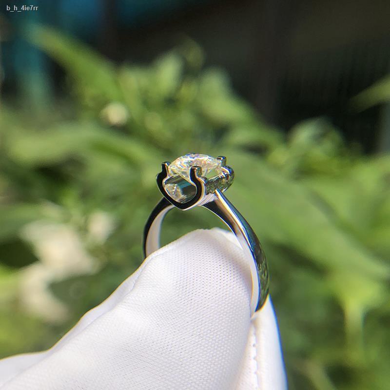 ราคาขายส่ง❈❈ทองคำขาว 18k แหวนเพชร Moissanite หนึ่งกะรัตหัววัวธรรมดา pt950 ทองคำขาวข้อเสนอการแต่งงานสี่กรงเล็บหญิงแหวนแท้