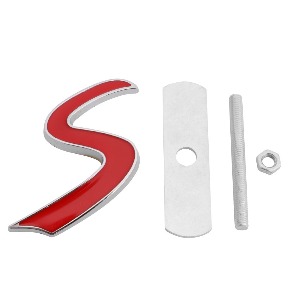 3D Metal S Front Grille Badge Emblem Decal For Mini Cooper R50 R52 R53 R56 R57