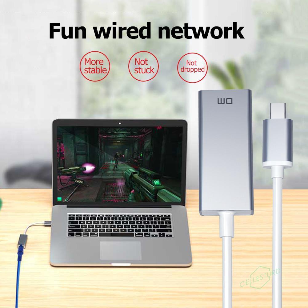 DM CHB017 USB Type-C to RJ45 HUB Gigabit Ethernet Port Adapter for Laptop PC