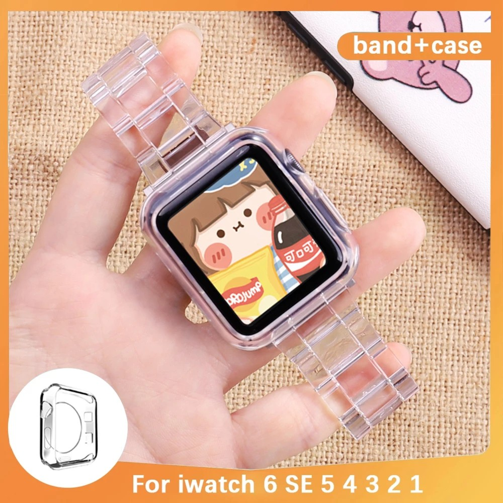 Case + Transparent  strap  Apple Watch 6 SE 5 4 3 2 1 Band Resin strap & Protective cover 44mm 42mm 40mm 38mm