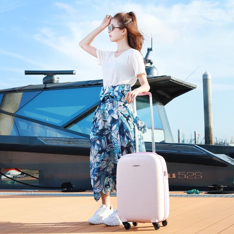 กระเป๋าสตรีขนาดเล็ก INS สุทธิสีแดง24รหัสผ่านการเดินทาง Pi Xiang Zi 20นิ้ว Boarding Universal ล้อน้ำหนักเบารถเข็น1