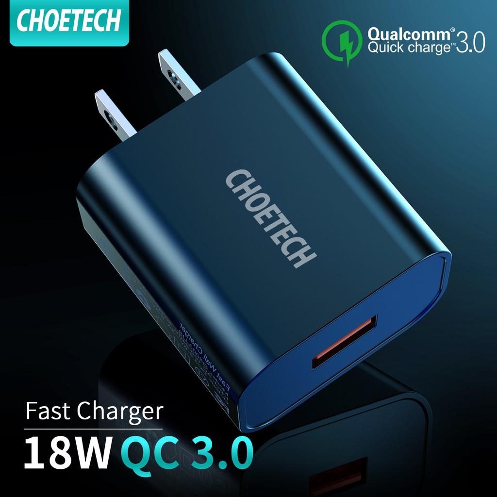 CHOETECH QC 3.0 Fast Charger หัวชาร์จ usb อุปกรณ์ชาร์จ 18W Quick Charging ค่าการชาร์จแบบเร็ว 3.0 ผนังที่ชาร์จอย่างรวดเร็
