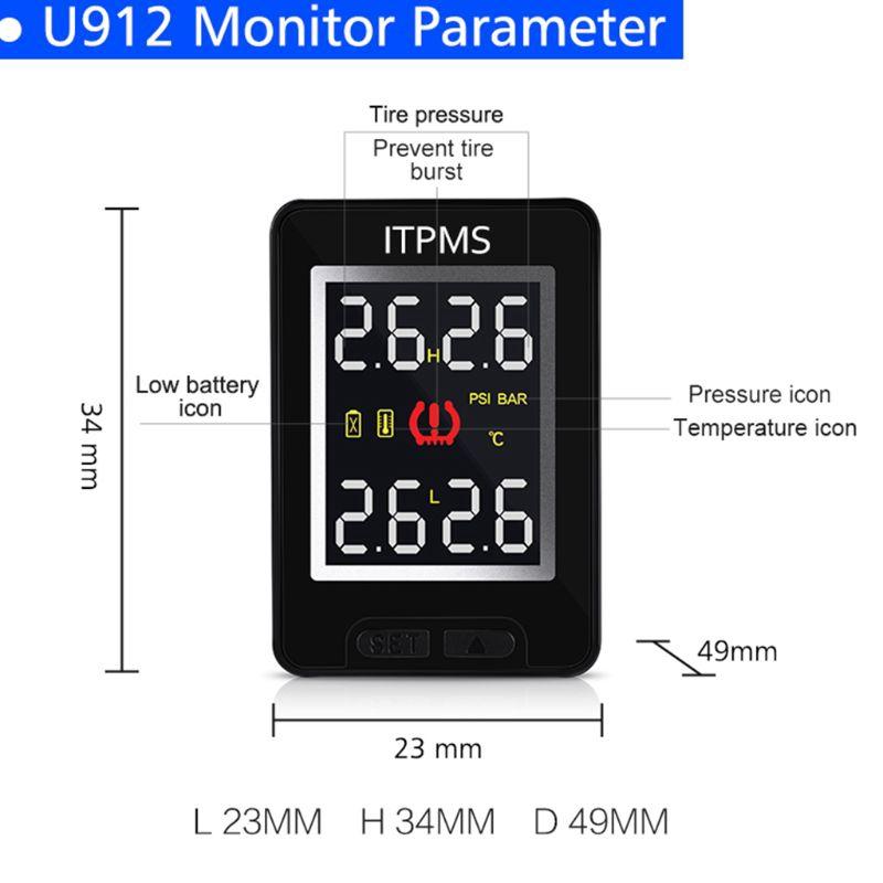 rr ' u 912 tpms เครื่องตรวจสอบความดันยางรถยนต์จอแสดงผล lcd