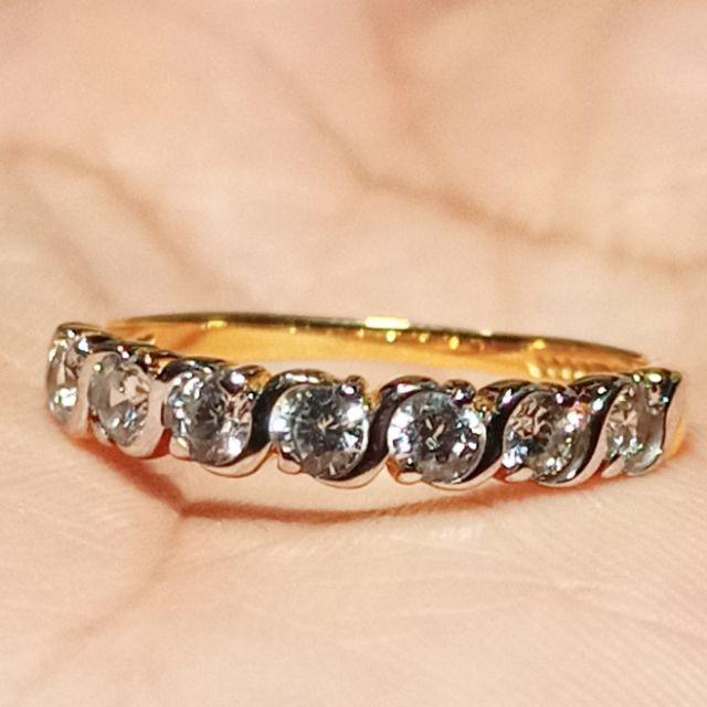 แหวนทองแถวตาม้า พลอยขาว 9-10 ตัง ทอง 9 k ไซค์ 55 นน. 1.92 กรัม ราคา 3,900 บาท มือสองสภาพ 90%