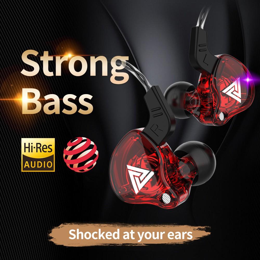 QKZ หูฟัง AK6 Earphone Sport Earbuds Stereo หูฟังอินเอียร์ ระดับเสียง HI-FI ไมค์เพิ่ม/ลดเสียง สายยาว 1.2 เมตร
