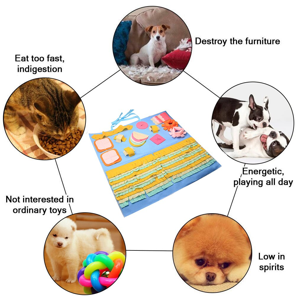 Snuffle mat puzzle for dogs pink paw prints