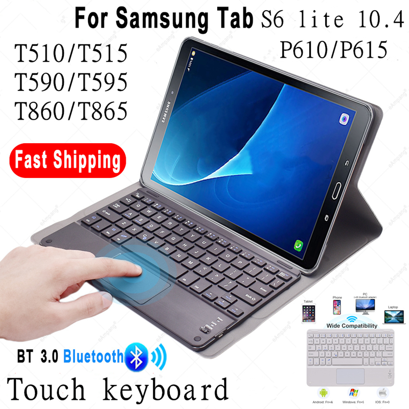 TouchPad Keyboard Case for Samsung Galaxy Tab S6 lite 10.4 P610/P615 Tab A 10.1T510/T515 2019 Tab A 10.5 2018 T590 /T595 3.0 Keyboard Case Cover