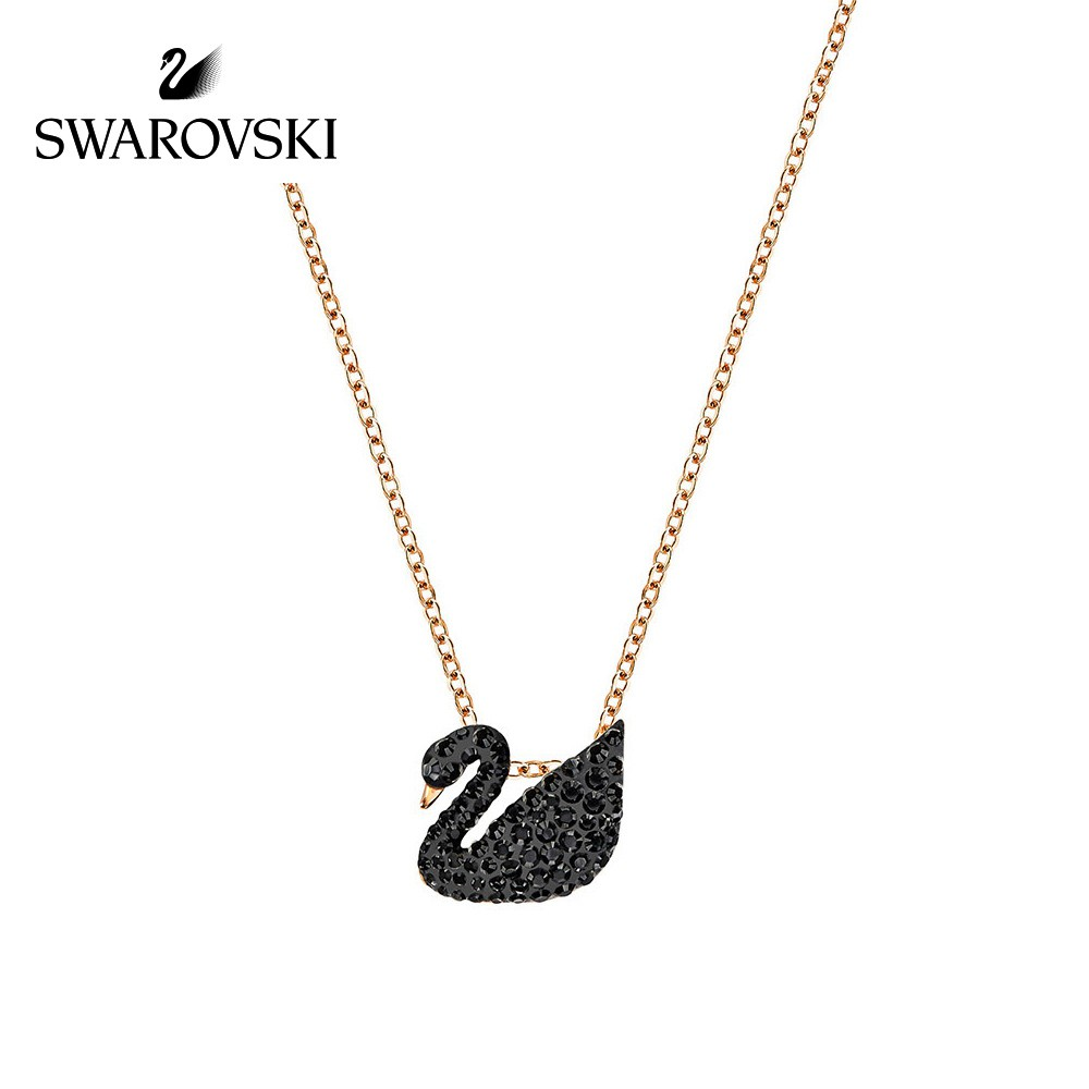 Swarovski Iconic Swan สร้อยคอจี้รูปหงส์ดําเครื่องประดับสตรี