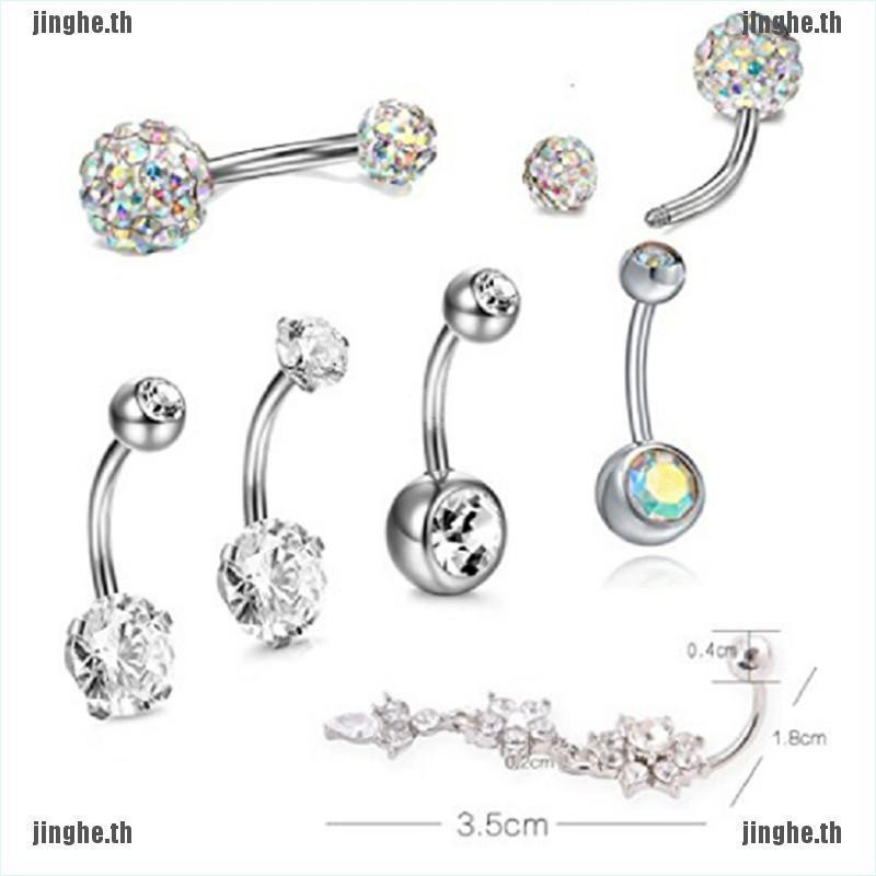 7PCS//Set Stainless Steel Crystal Belly Button Rings Navel Body Jewelry Pierc Jh