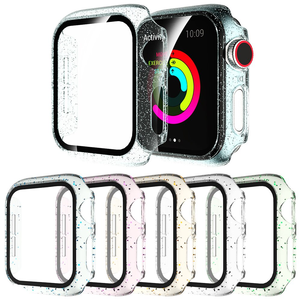 Clear Bling Screen Protector Cover for Apple Watch SE Case Series 6 5 4 3 PC Bumper for iWatch 40mm 44mm 38mm 42mm Film