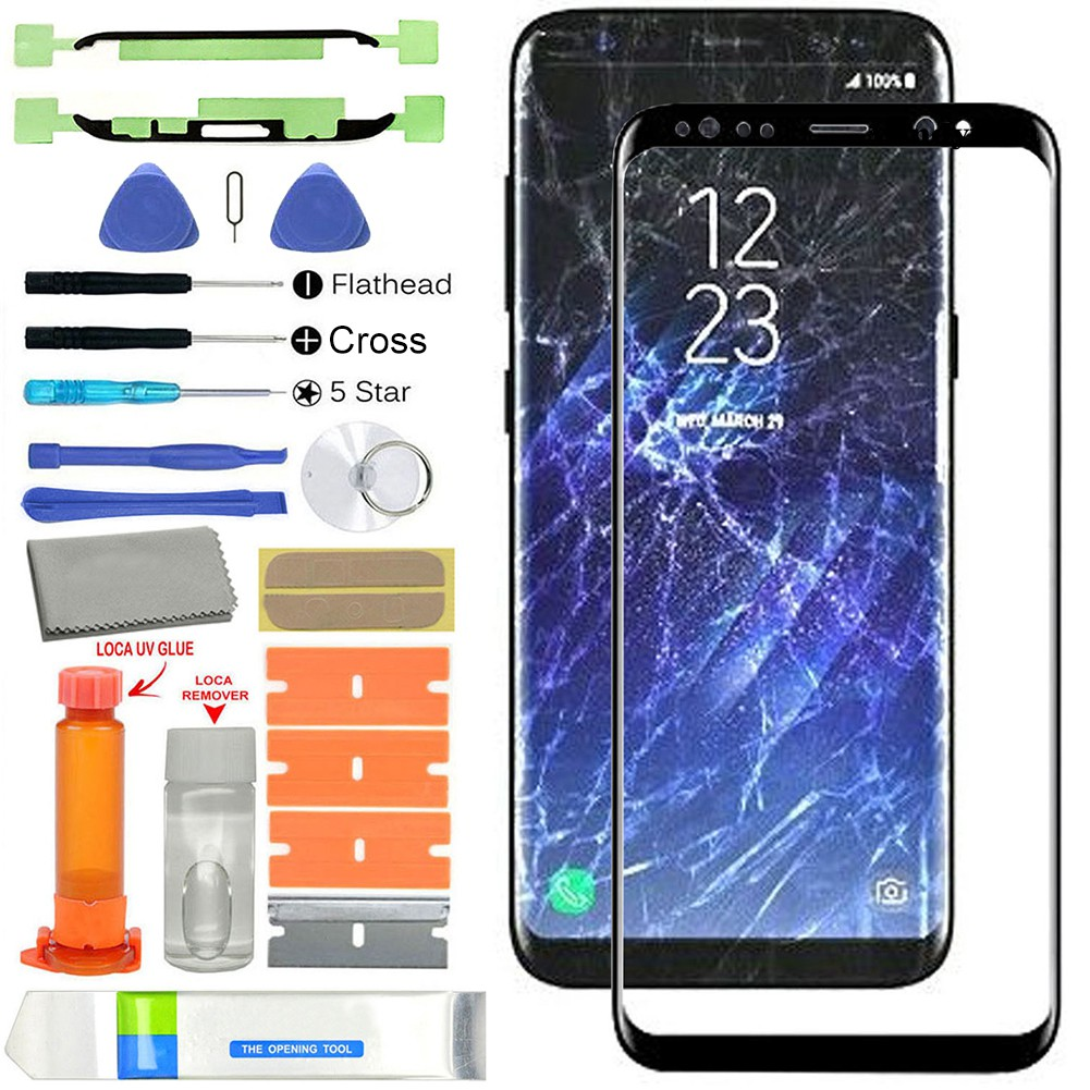 W & T ชุดกระจกหน้าจอแบบเปลี่ยนสําหรับ Samsung Galaxy S 8 G 950 S8 Plus G 955