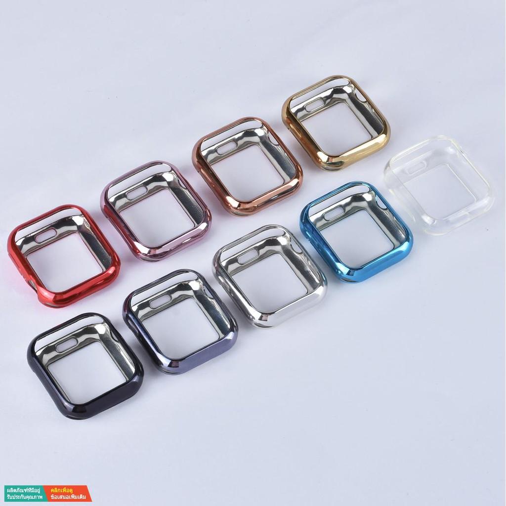【กระเป๋ากล้อง】เคส Apple Watch iwatch5 6 SE 4/3/2/1 รุ่น electroplating เคสใส TPU นิ่ม applewatch case series5 บางเฉีย