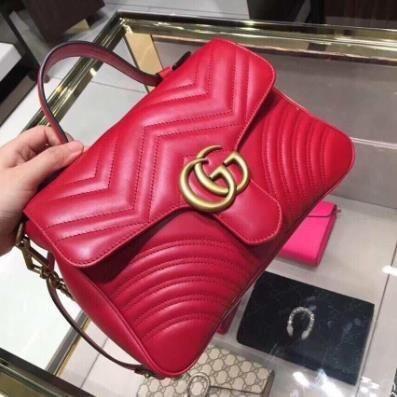 【XE】Noy  99 ใหม่ Gucci Gucci Marmont กลางคู่ G หัวเข็มขัดหญิงกระเป๋ากระเป๋าสะพายข้าง 498110 จุด