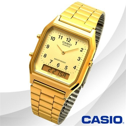 Casio นาฬิกาผู้หญิง สายสแตนเลส สีทอง รุ่น AQ-230GA-9BMQ,AQ-230GA-9B,AQ-230GA