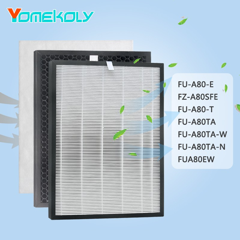 for Sharp Air purifier filter FU-A80-E FZ-A80SFE FU-A80-T FU-A80TA FU-A80TA-W FU-A80TA-N FUA80EW  Air purifier Replacement HEPA filter Activated carbon filter