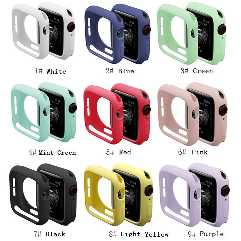Apple Watch Case 38mm 40mm 42mm 44mm Soft Silicone Cover for iWatch Series 5/4/3/2/1