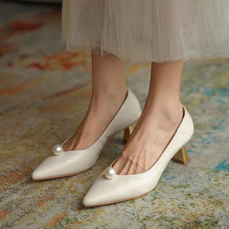 👧 ในสต็อก 👧รองเท้า  รองเท้าผู้หญิง รองเท้าคัชชู แฟชั่นหัวแหลม ส้นสูง   34-39