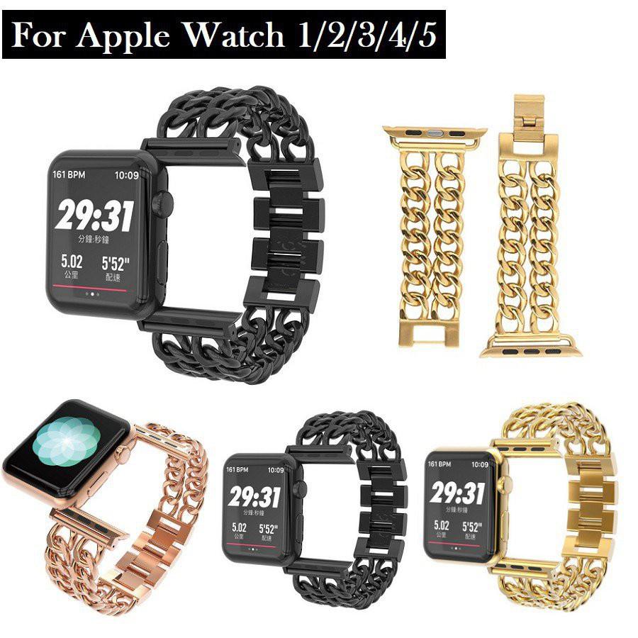 ทั้งหมดจุด◘✣Luxury Chain สายนาฬิกา Apple Watch Straps เหล็กกล้าไร้สนิม สาย Applewatch Series 6 5 4 3 2 1 Stainless Steel