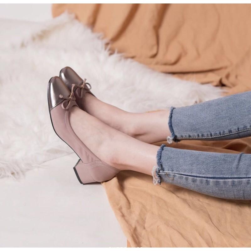 รองเท้าคัชชูหนัง cutesauce รุ่น Judy สีชมพูนู้ด