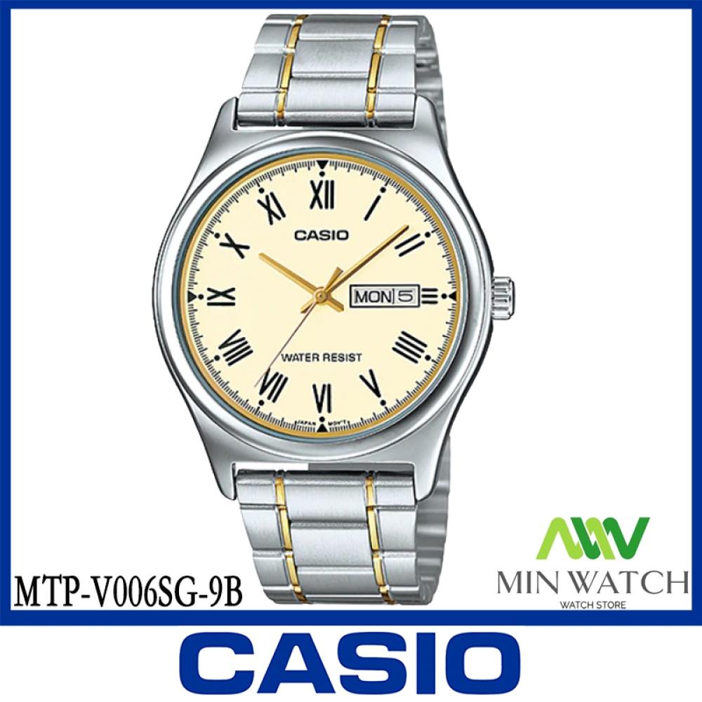 นาฬิกา รุ่น Casio นาฬิกาข้อมือ ผู้ชาย สายสแตนเลส รุ่น MTP-V006SG-9B ( Gold/Silver ) จากร้าน MIN WATCH