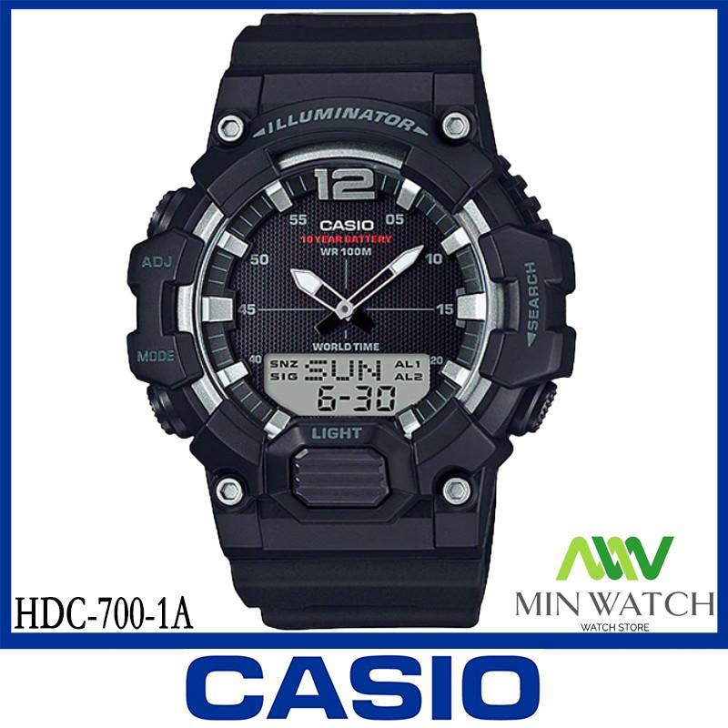 นาฬิกา รุ่น HDC-700 CASIO นาฬิกาข้อมือผู้ชาย สายเรซิน HDC-700-1A สีดํา HDC-700-3A สีเขียว HDC-700-9A สีทอง ของแท้100% ปร
