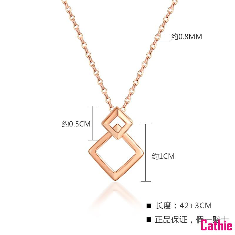 [Cathie] สร้อยคอทองคำ 18K สามเม็ดหญิงสีทอง O-Clavicle Chain Rose Gold au750 ชุดของขวัญราคาโซ่