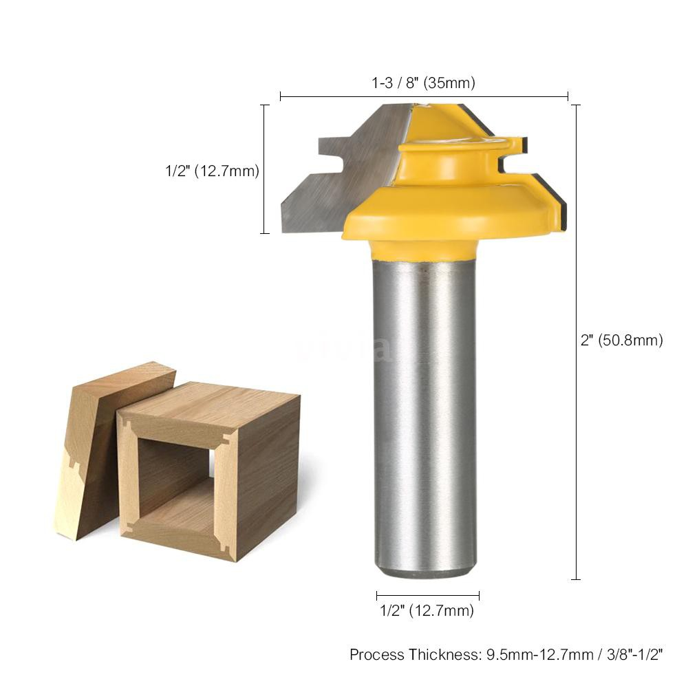 1//2/'/' Shank Lock Miter 45 Degree Glue Joint Router Bits Tools 1//4*1-3//8mm