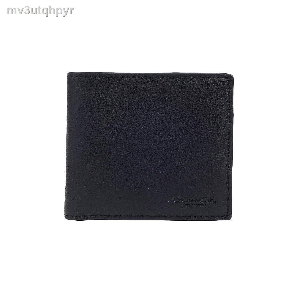 กระเป๋าเงิน❉✌COACH กระเป๋าใส่บัตรกระเป๋าสตางค์ใบสั้นผู้ชาย F75084