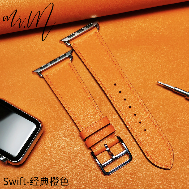 Я❥บังคับ iwatch6 Hermes สายหนังแอปเปิ้ล applewatch SE/4/3นิ้วทำด้วยมือผู้ชายและผู้หญิงหนัง