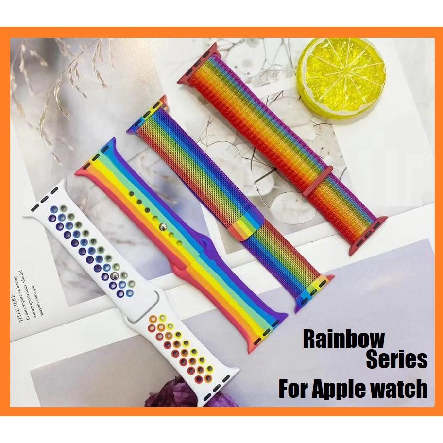 สายนาฬิกาข้อมือซิลิโคน สายรุ้ง สำหรับ Apple Series 1/2/3/4/5/6, Apple Watch SE iWatch สาย 38 มม. 40 มม. 42 มม. 44 มม.
