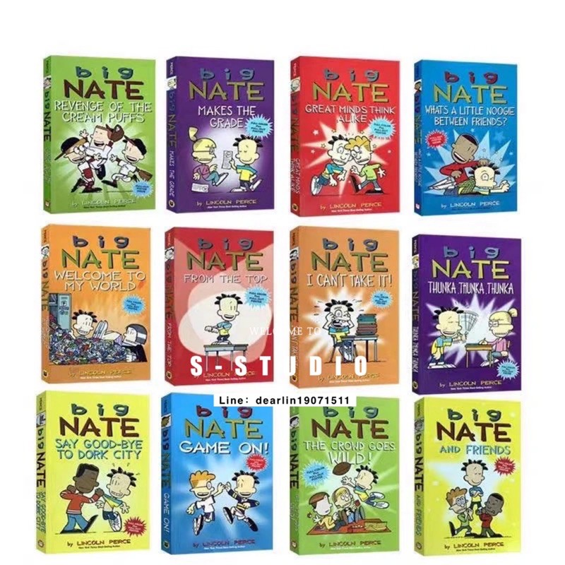 จัดส่งทุกวัน Big Nate Full Colour Illustrated Comic Books Set by Lincoln Peirce 12 books