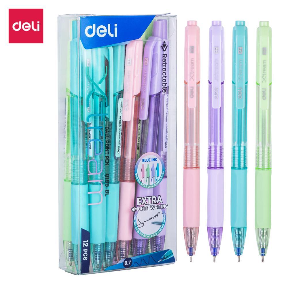 6pcs Deli MultiColor Pen 0.7mm Point 4 in 1 Colorful Retractable Ballpoint Pens