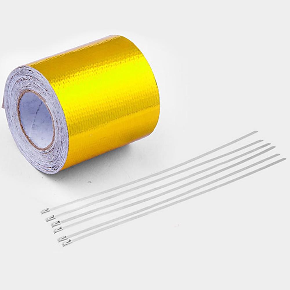 Car Adhesive Reflective High Temperature Heat Shield Wrap Tape Gold//Silver