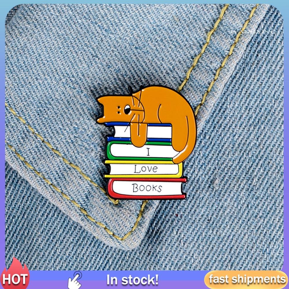 Yx-Xz I Love Books Unisex เข็มกลัดลายการ์ตูนแมวน่ารัก