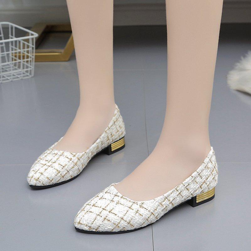 รองเท้าผู้หญิง💕รองเท้าคัชชู หัวแหลม💕รองเท้าคัชชูเปิดส้น💕รองเท้าผู้หญิง ไซส์ใหญ่ รองเท้าส้นแบนลายตารางสไตล์เกาหลี