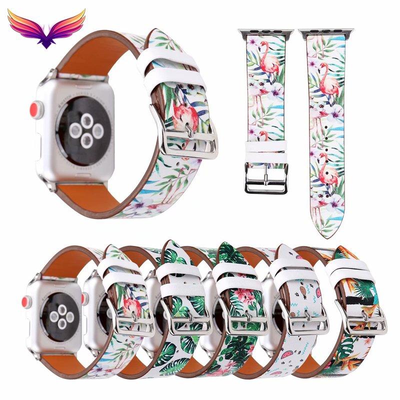 Applewatch Series 4 นาฬิกาข้อมือสายหนังลายดอกไม้