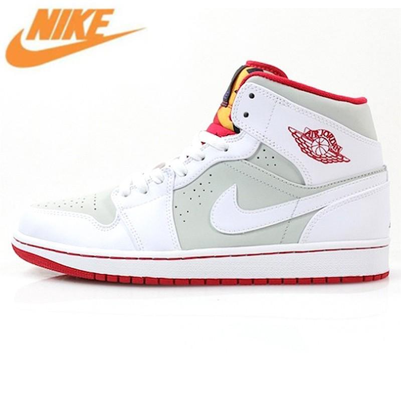 a6cb14810a36a รองเท้าผ้าใบกีฬา AIR JORDAN 1 MID AJ1 Jordan 1 generation สีดำและสี ...