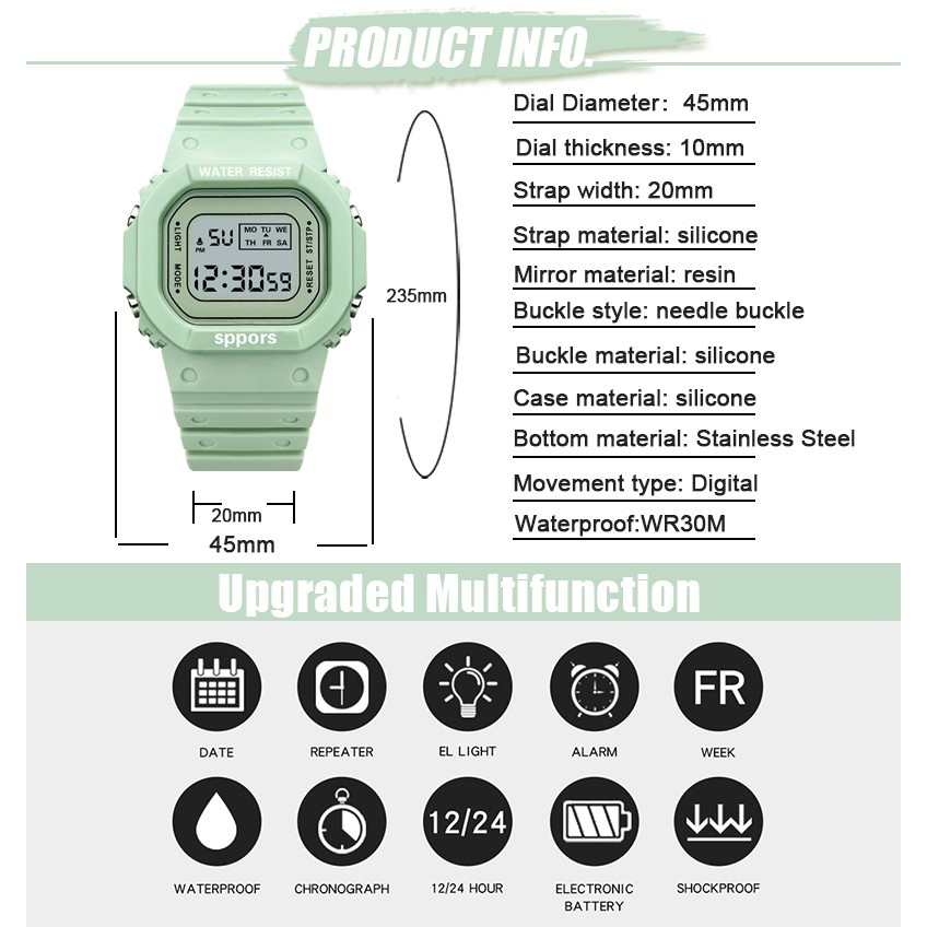 นาฬิกาข้อมืออิเล็กทรอนิกส์ มีไฟ LED ใส่เล่นกีฬา สำหรับผู้ชายและผู้หญิง