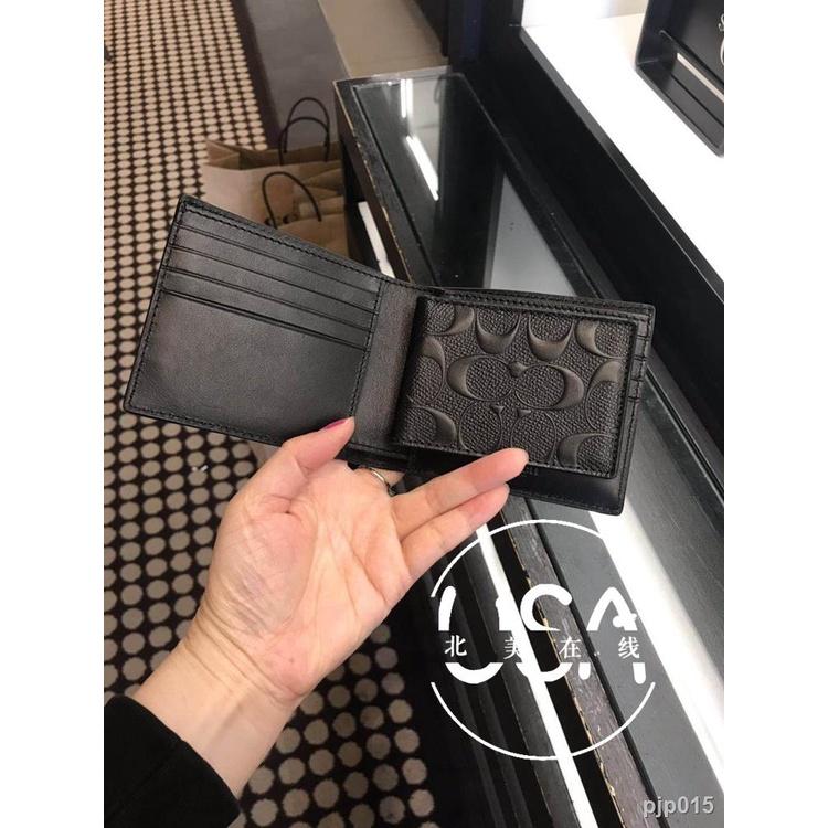 กระเป๋าสตางค์กระเป๋าสตางค์ผู้ชายกระเป๋าผู้หญิง▫▣ในสต็อก Coach กระเป๋าสตางค์ใบสั้นหนังโลโก้ผู้ชาย F74993 F59112 F74991
